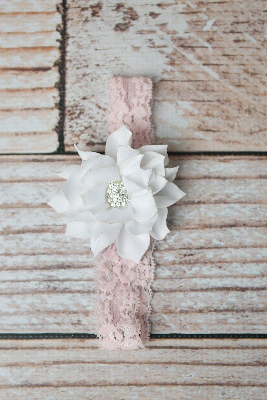 Pink Flower lace headband - La Bella Rose Boutique. Flower girl hair ...