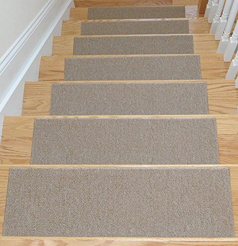 Affordable Dark Beige Set Of 7 Skid Resistant Rubber Backing Non Slip Carpet Stair Treads Machine Washable 8 5 29 99 14 With Images Carpet Stair Treads Carpet Stairs