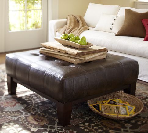Square Leather Ottoman Coffee Table 11