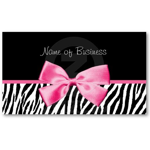 Trendy black and white zebra print pink ribbon business card reheart Choice Image