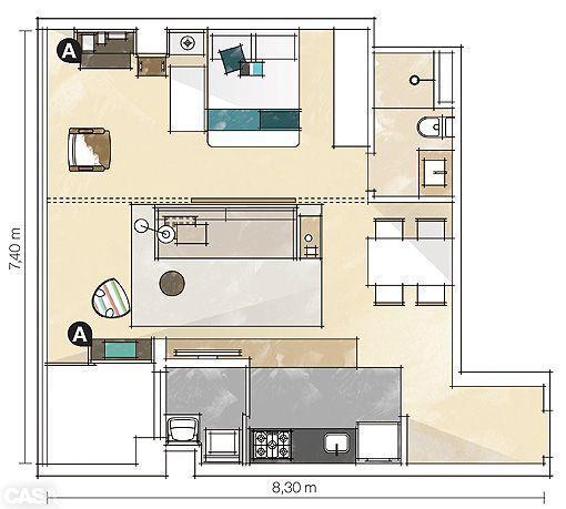 Apartamento de 55 m2 bien aprovechado distribuci n - Pisos bien decorados ...