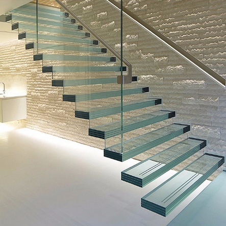 High Quality Low Cost Floating Stairs Made Of Tempered Glass For
