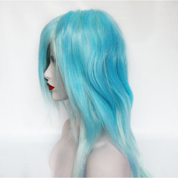 SPRING SALE Light Blue wig. Pastel Blue wig. Mint Green wig. Pastel... ($69) ❤ liked on Polyvore featuring flat iron, straight iron, straightening iron, hair styling tools and styling iron
