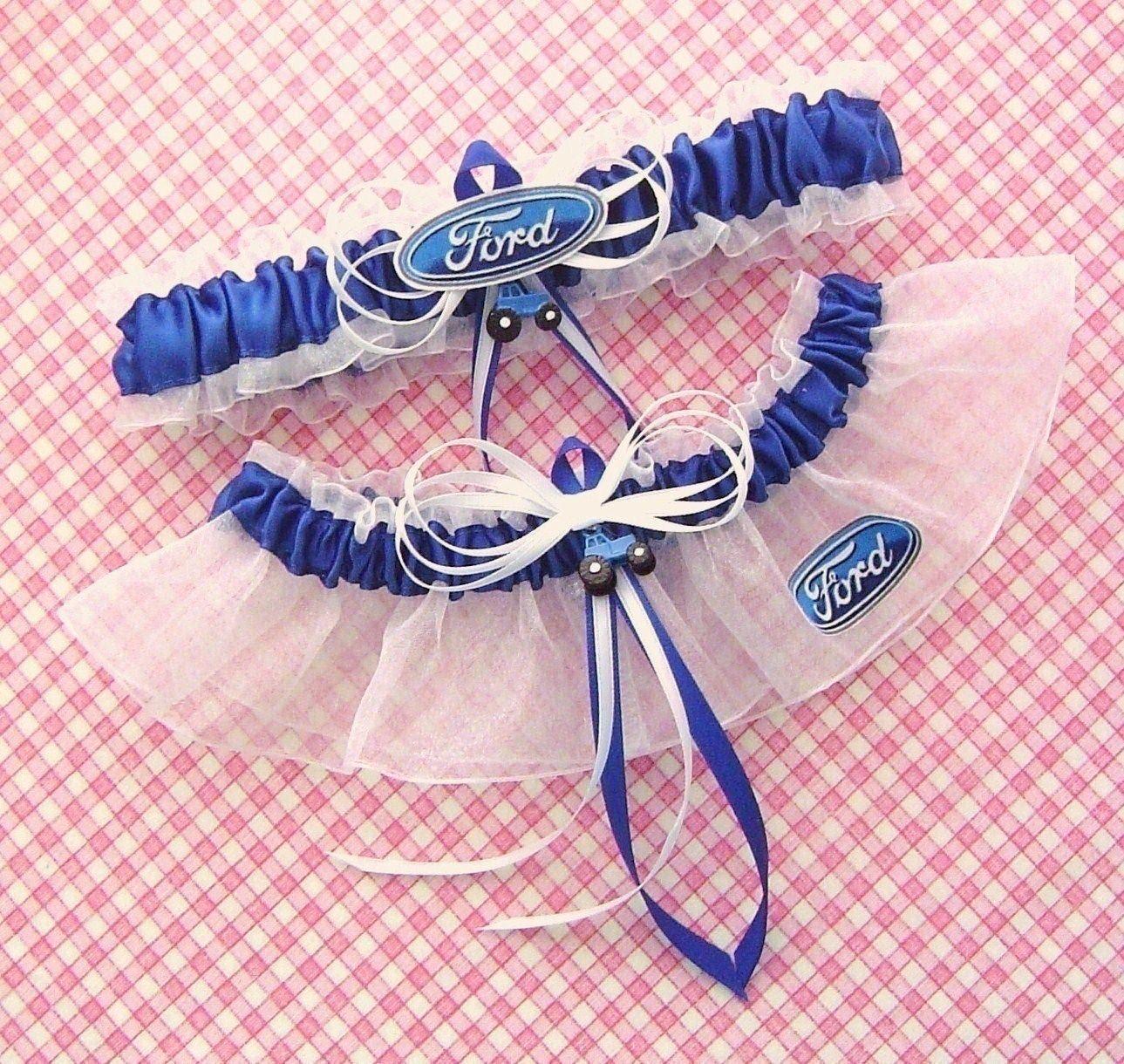 Wedding Garter Symbolism: Ford Blue Tractor Wedding Garters Farm Logo Charm Garter