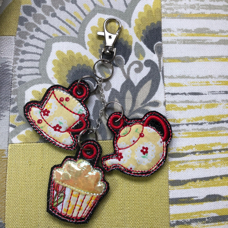 Nice Cuppa Tea keyring bag charms x 3 teapot teacup & cake ~ Mothers Day Gift