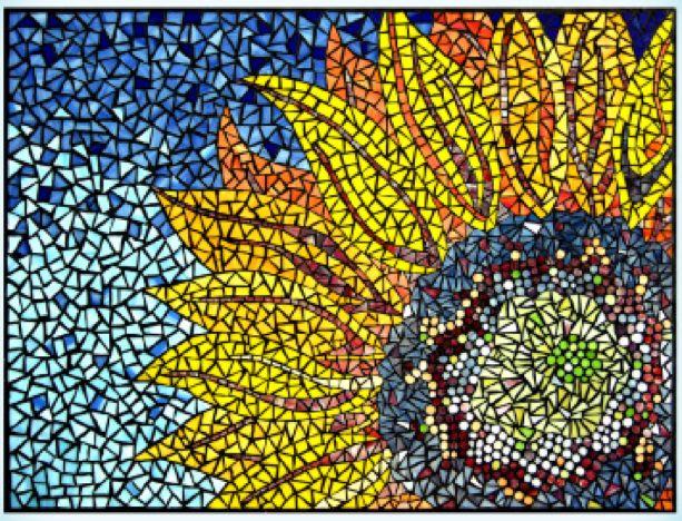 Mosaic Sunflower Mosaic Patterns Sunflower Mosaic Mosaic Glass