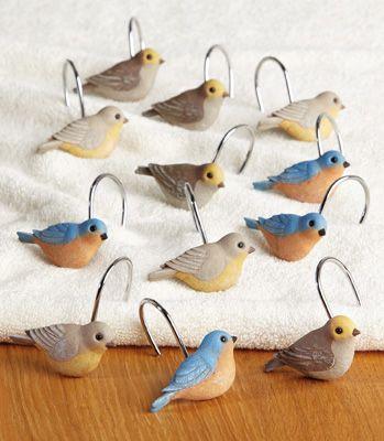Birds And Blooms Songbird Shower Curtain Hooks Bird Shower
