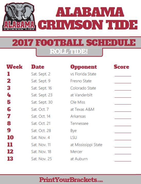 University Of Alabama Football Schedule 2017 >> Printable Alabama Crimson Tide Football Schedule Alabama Football