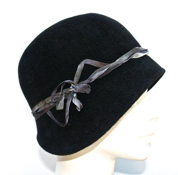 184f0fb7f4f Black Fur Felt Women s Cloche Hat