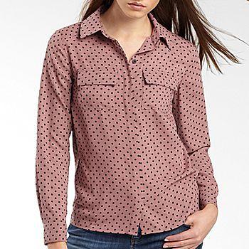 I heart ronson polka dot crepe blouse $31