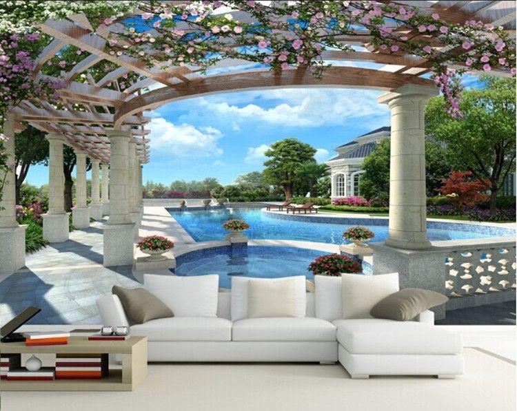 Large 3D wallpaper mural European minimalist living room sofa