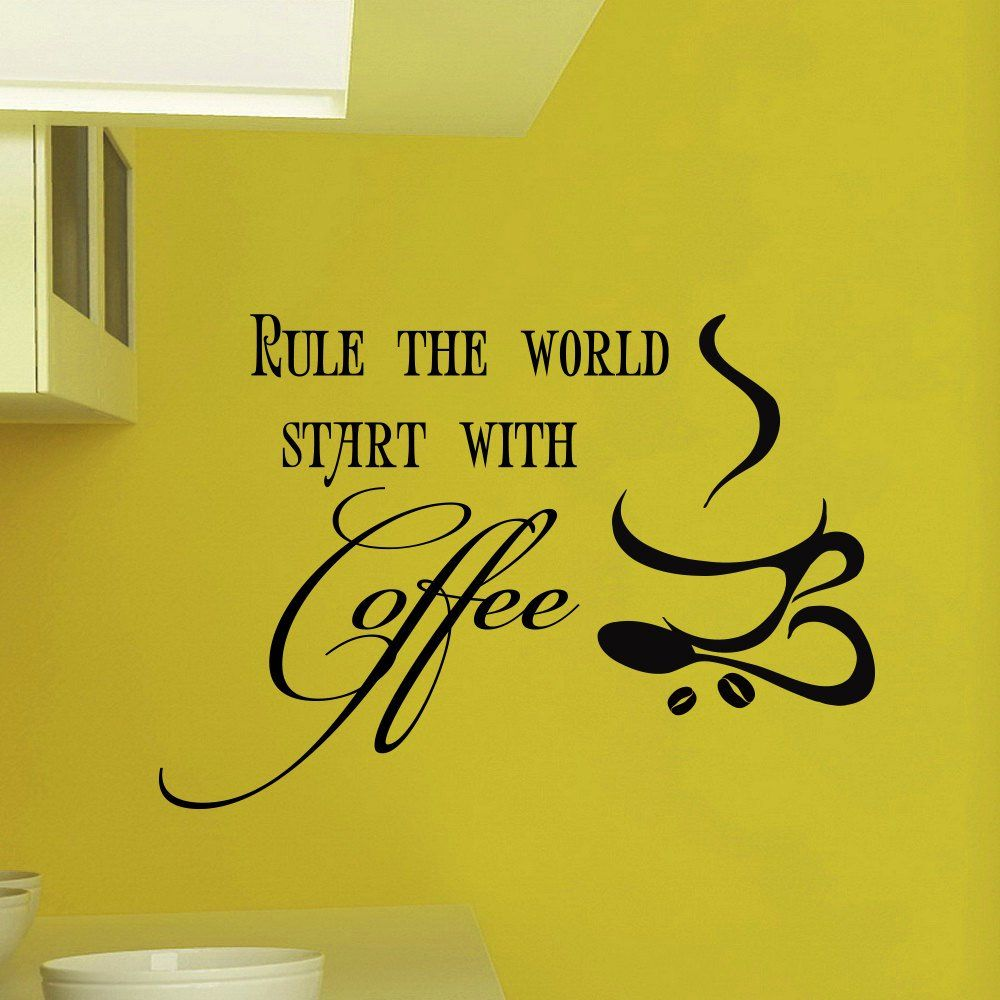 Wall Decals Vinyl Sticker Quote Rule the world start with coffee Kitchen Bar Cafe Restaurant Decal Home Decor Murals Bedroom Studio Dorm: Amazon.co.uk: Kitchen & Home