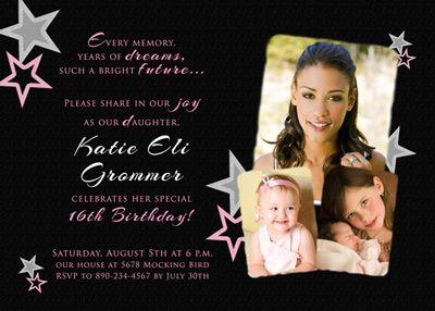 Star Dreams Quote Birthday Invitation
