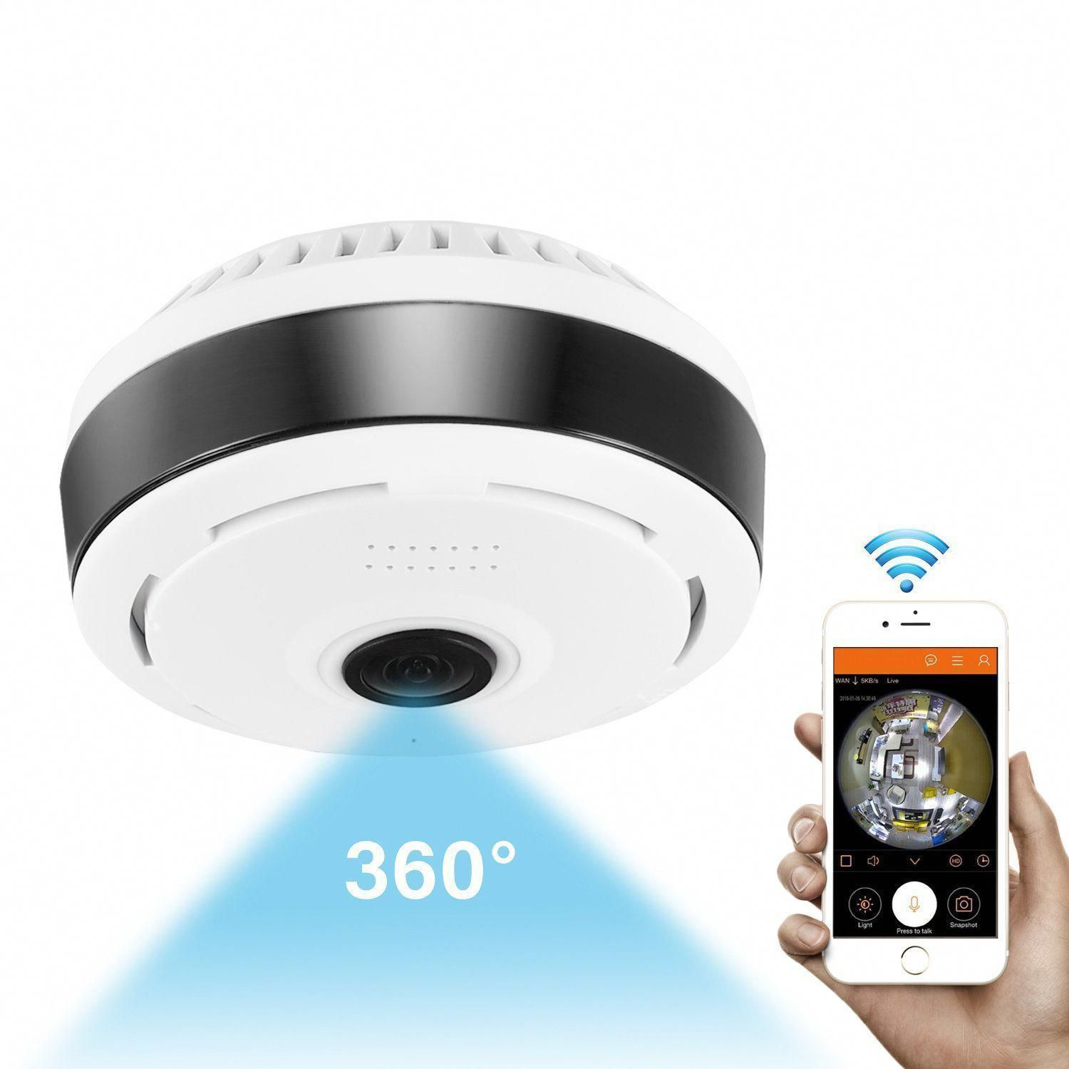 360 Degree Panoramic Camera Wifi Indoor Ip Camera Wireless Fisheye Baby Monit Security Cameras For Home Home Security Camera Systems Video Surveillance Cameras