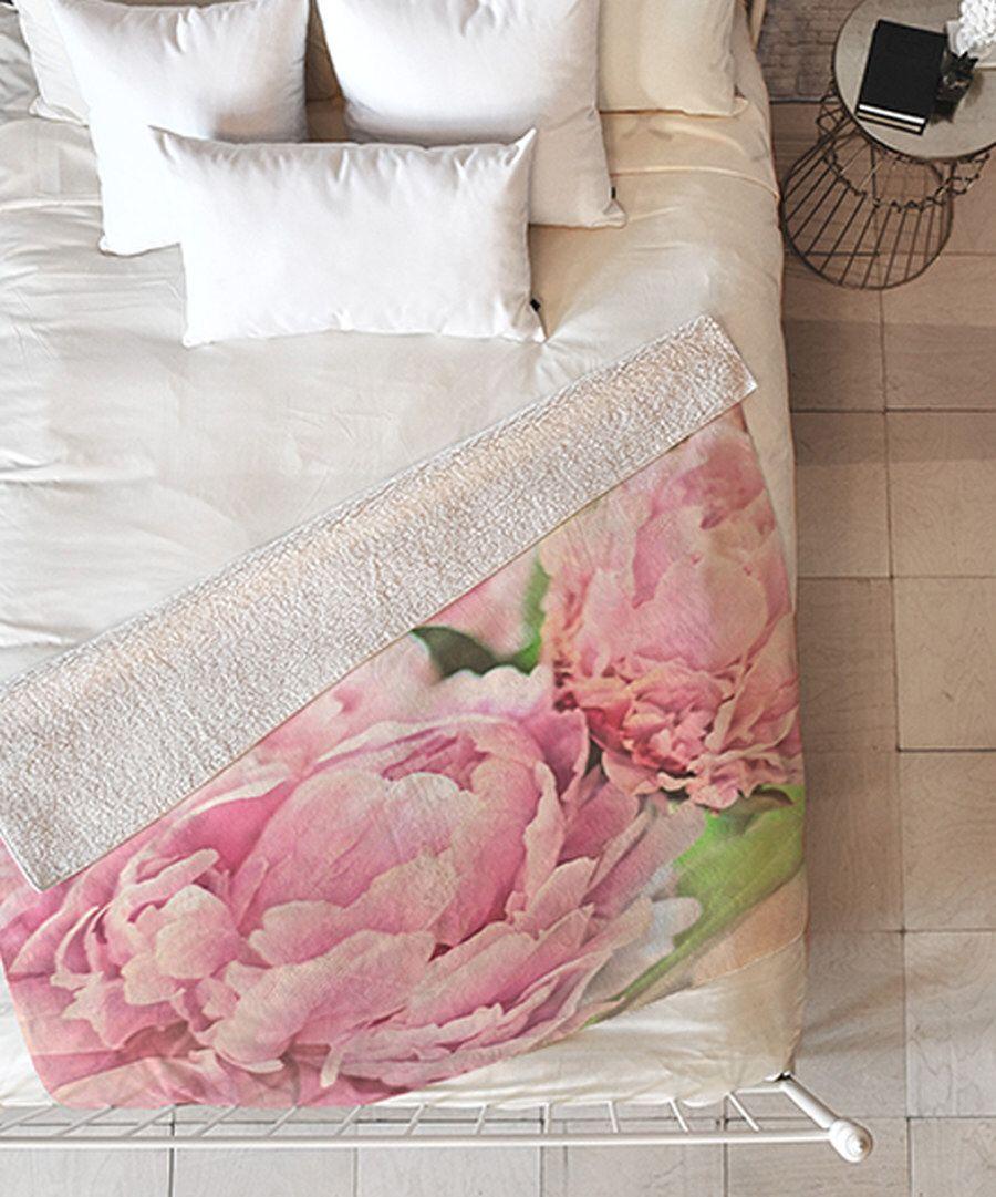 Look at this lisa argyropoulos pink peonies sherpa throw blanket on