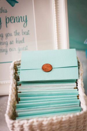 lucky penny lottery ticket party favors from tiffany blue and bows baby shower