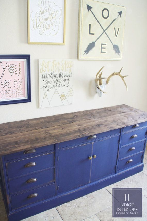 Farmhouse Style Navy Blue Distressed Dresser Buffet