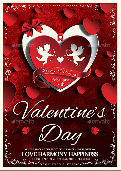 Valentines Day Flyer Templates with Cupids | Flyer Templates ...