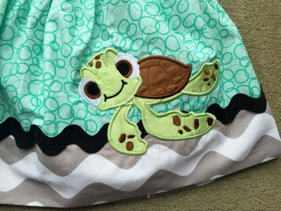 Finding Nemo Inspired Crush Turtle Shirt and Embellished Squirt Turtle Twirl Skirt. Sz 6m-12 yr.