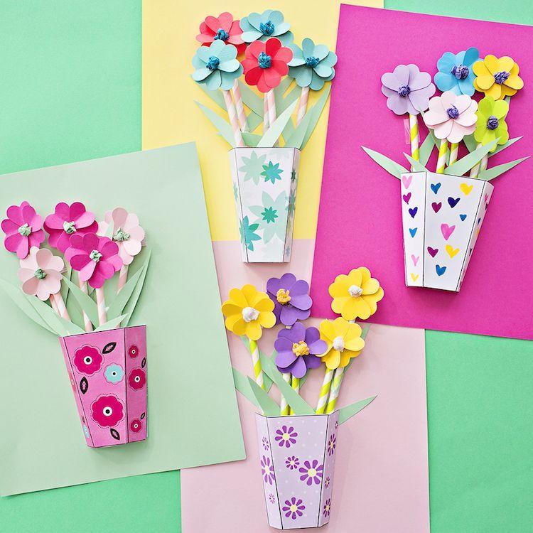 bricolage de printemps pour enfants fleurs papier diy decoration