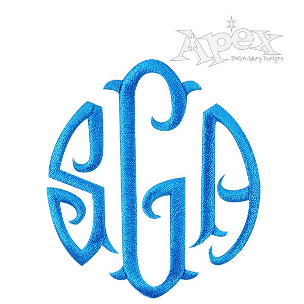 Round Circle Fish Tail Monogram Embroidery Fonts Embroidery Fonts