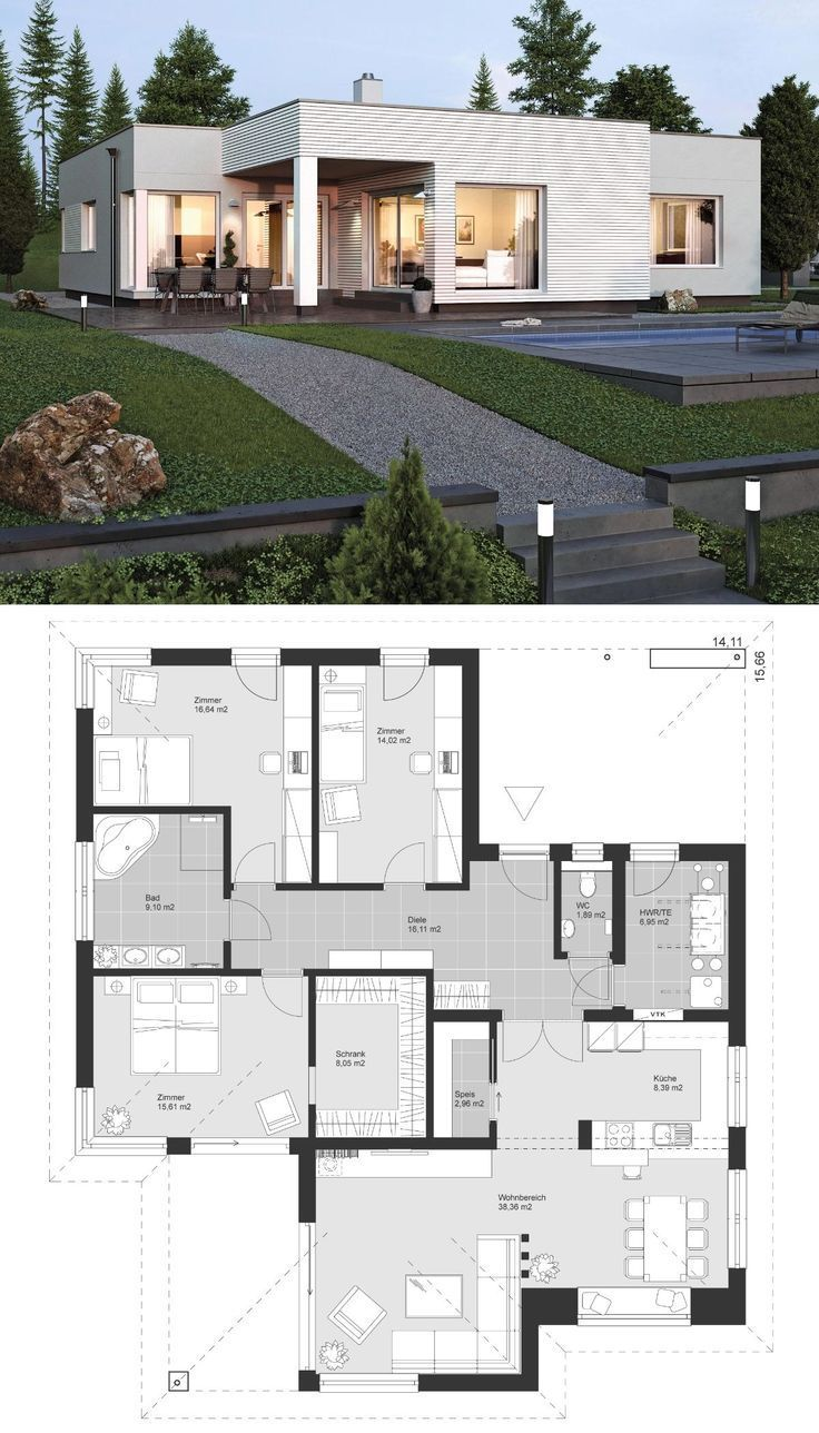Bungalow Modern Contemporary European Style Architecture Design House Plan El Contemporary House Plans House Architecture Design Bungalow Design