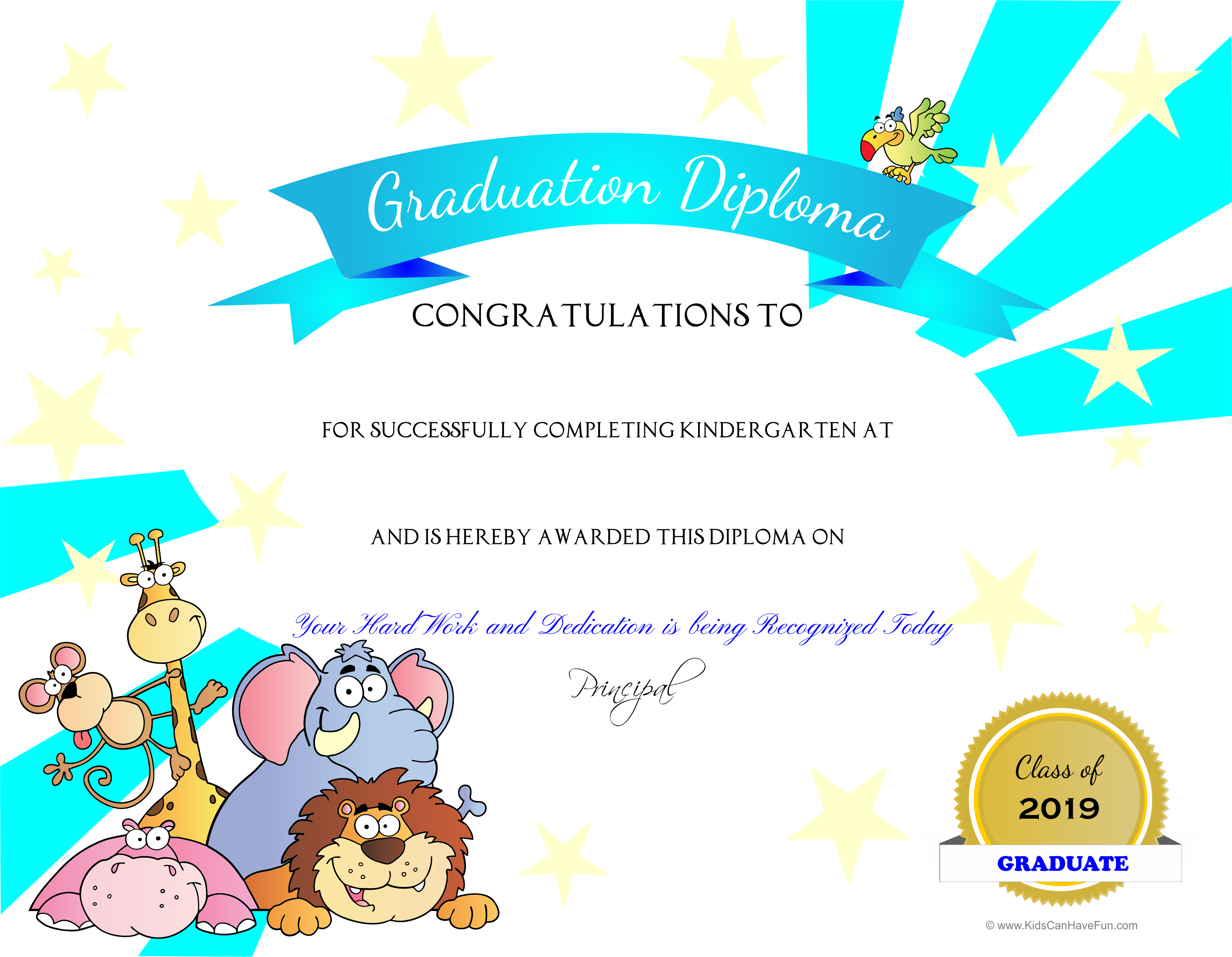 Kindergarten Jungle Animals Graduation Diploma With White