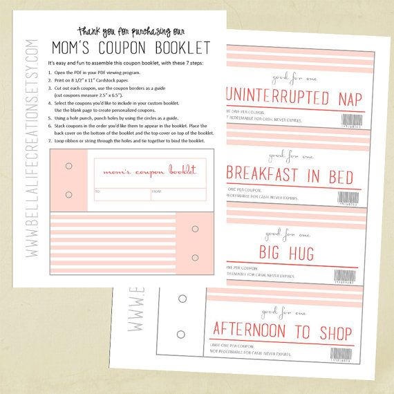 Mom S Coupon Booklet Instant Download Printable Coupon Book