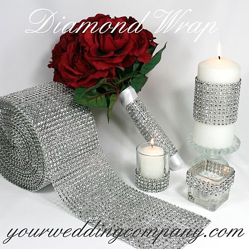 This diamond embellishment roll costs about $3.40/foot and can be used to add bring to candles, centerpieces, shoes, and pretty much anything.