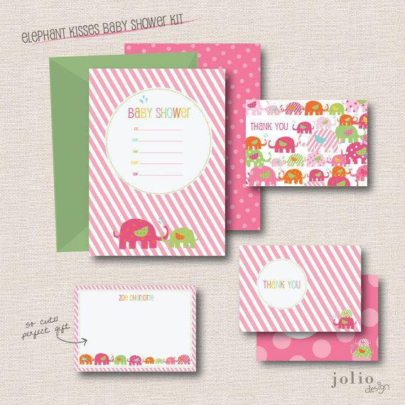 Baby Girl Shower Fill-In Invitations // Elephant Kisses by joliodesign, $18.00