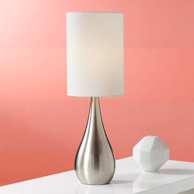 Teardrop 21 High Brushed Nickel Table Lamp V1851 Lamps Plus In 2021 Modern Table Lamp Nickel Table Lamps Contemporary Table Lamps