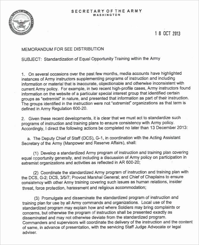 Army Memo Format Font