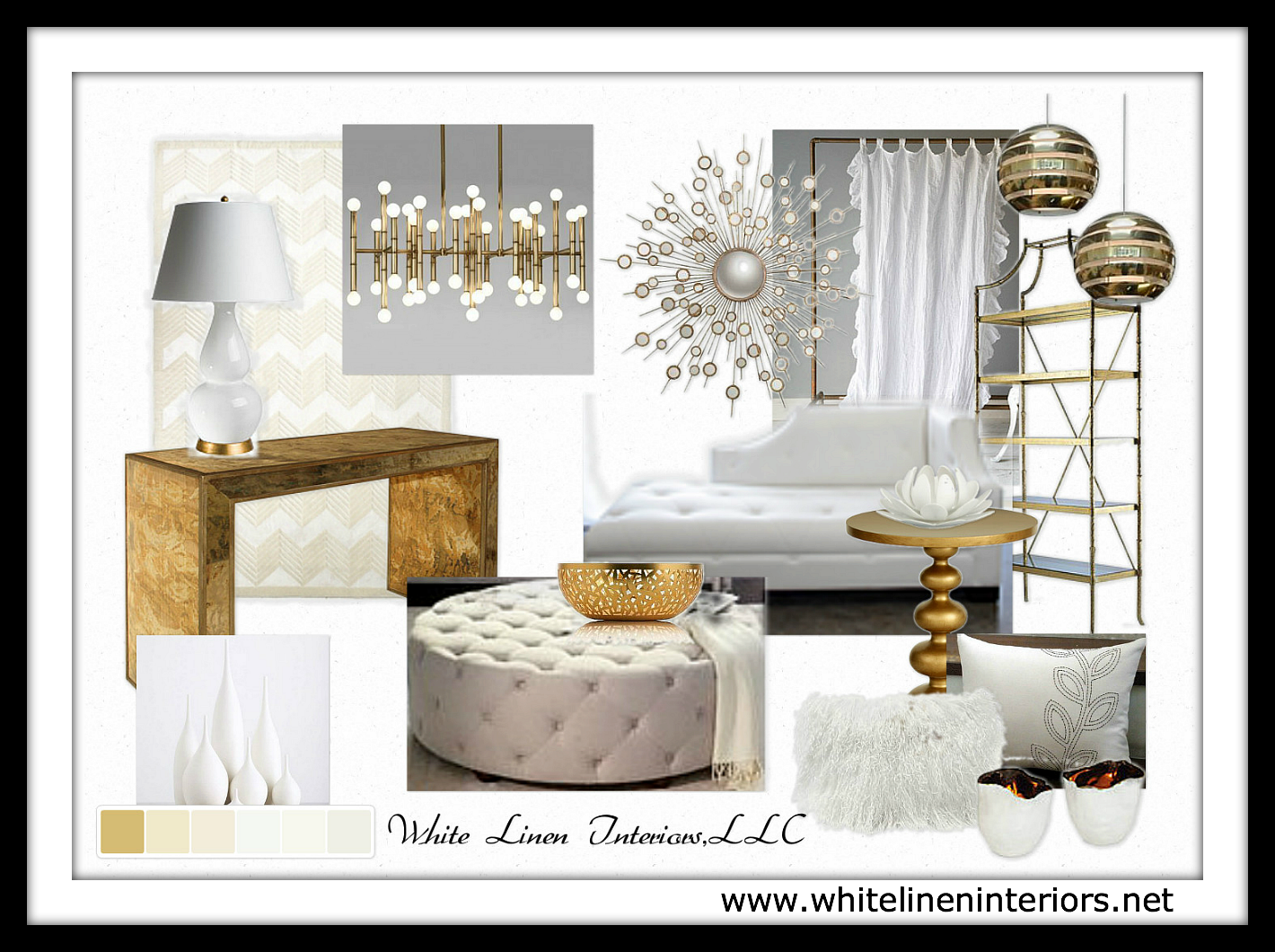 white and gold living room - Google Search | Living Room reno ...