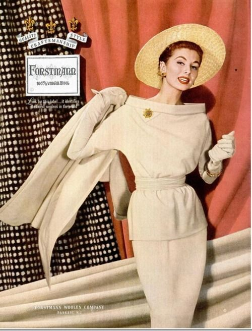 Lovely for Fall Suzy Parker in Forstmann advertisement, 1955