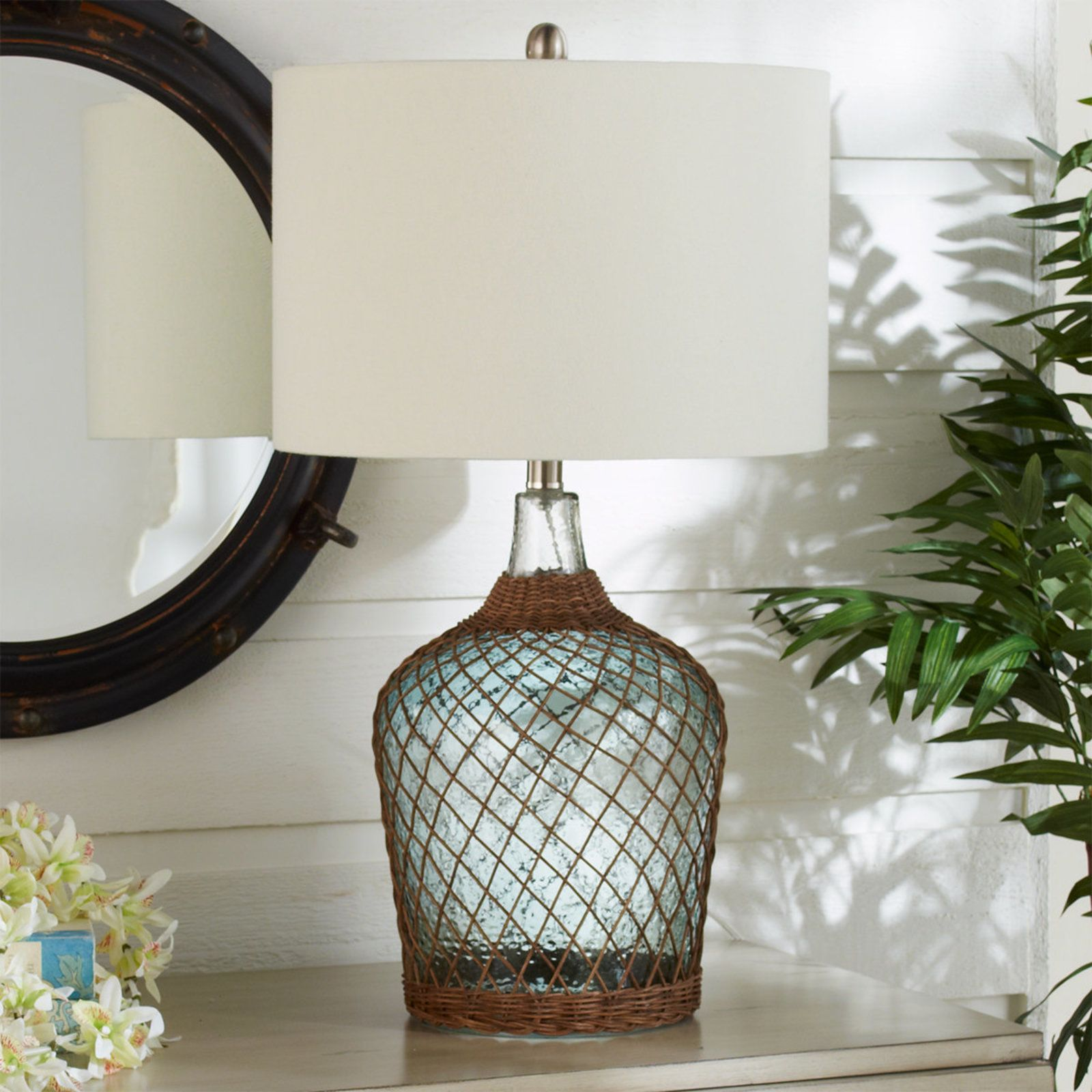 Corolla Rattan Wrapped Table Lamp clear_tinted_green (With