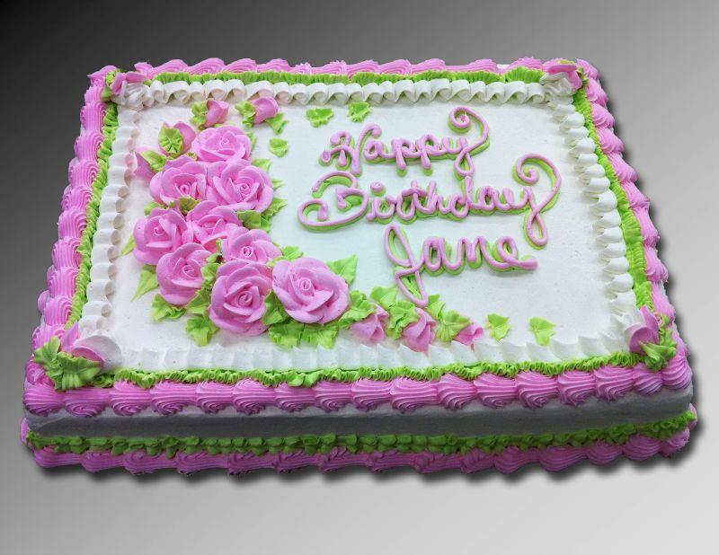 Pink Rose 1 2 Sheet Cake Birthday Sheet Cakes Sheet Cake Birthday Cake Decorating