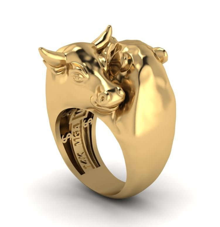 wall street warrior bull and bear ring etsy gold on wall street id=63506
