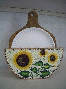 Paper Plate Holders Hp Buy It Now Paper Plate Holder Handpainted Items Paper Plate Holders Plate Holder Sunflower Home Decor