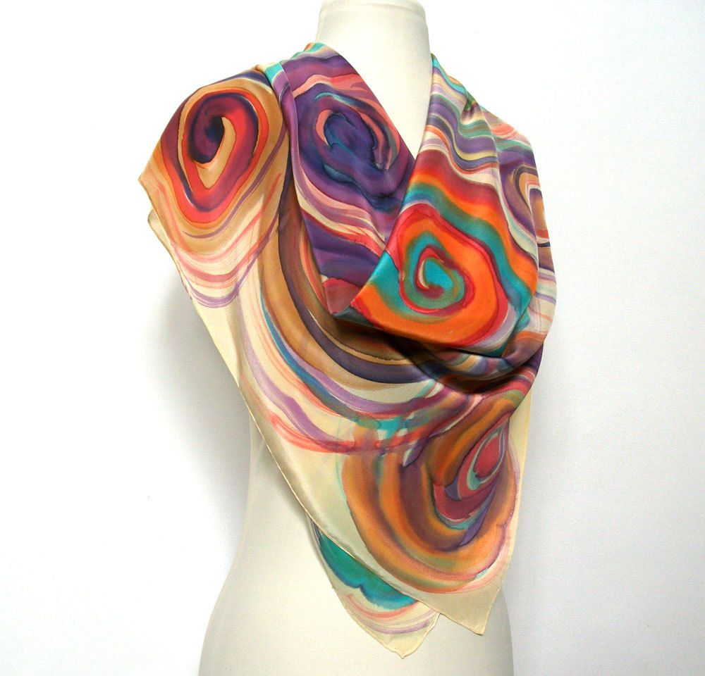 Silk Scarf  Handpainted Luxurious Crepe de Chine  Multicolor  Bright Orange Purple White Turquoise Fall  Accessorie MADE TO ORDER. $85.00, via Etsy.