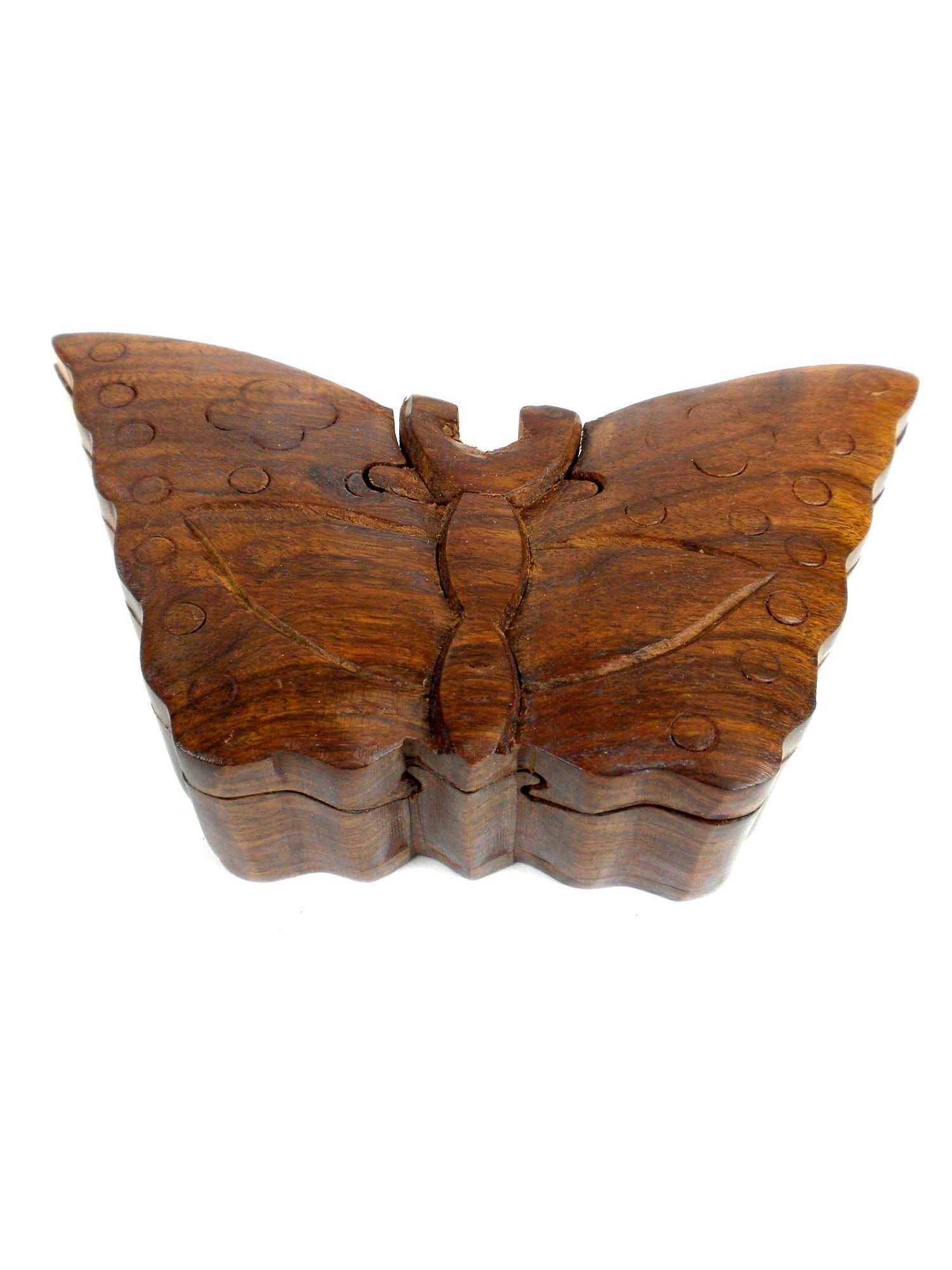 Handcrafted Sheesham Wood Butterfly Puzzle Box