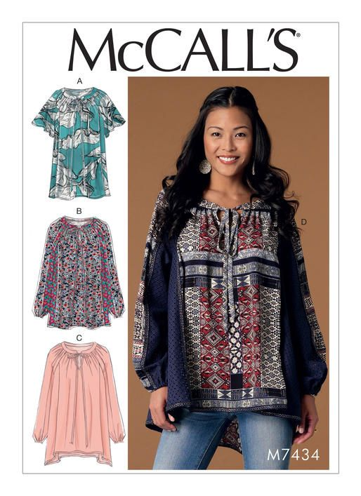 Boho-style top sewing pattern from McCall\'s. M7434 Misses\' Gathered ...