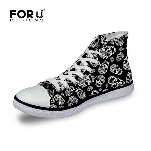 Designer High Top Canvas Shoes for Men Cool Men Skull Pattern Flat Shoes Brand Leisure Casual Lace-up Trainer Shoes