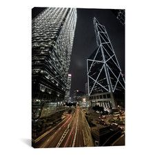 Hong Kong Skyscrapers at Night Cityscape Photographic Print on Canvas