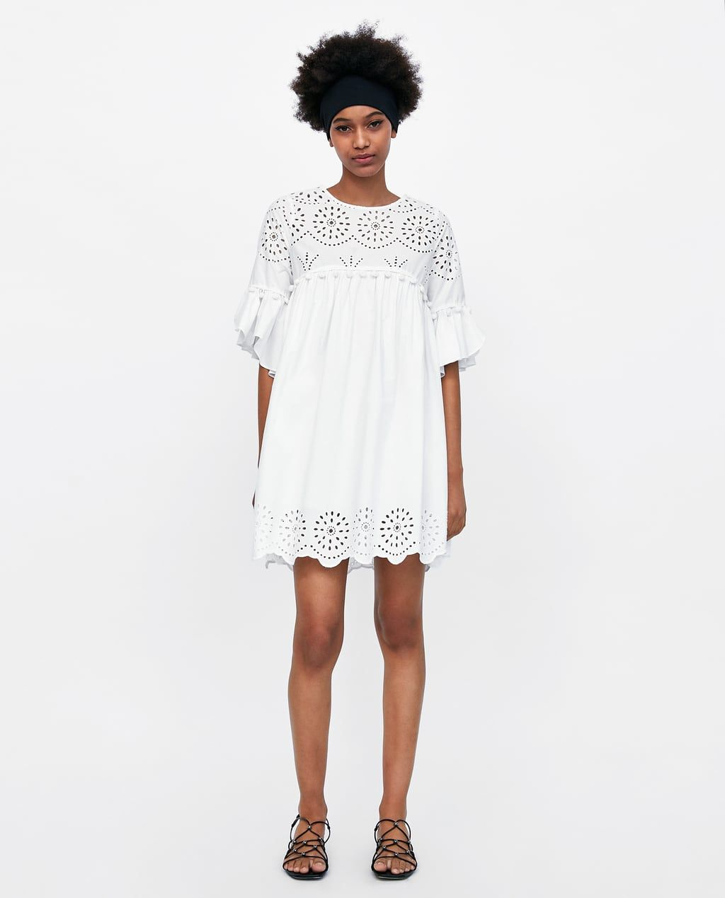 168a26244fdb Image 1 of EMBROIDERED DRESS WITH PERFORATIONS from Zara | Artwork ...