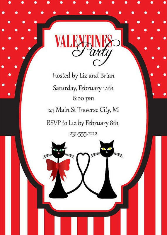 cats valentines invitation