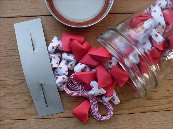 DIY Valentine Garland Kit in a Mason Jar Origami by coppleshop, $24.00