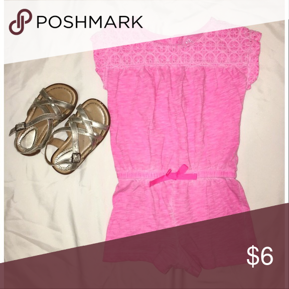 ADORABLE PINK ROMPER Omg I wish this was my size!! Excellent condition bright pink romper. It looks faded, that is the way I bought it. Super super cute I seriously wish this would fit me!! Perfect for hot summer days! Cherokee Shirts & Tops