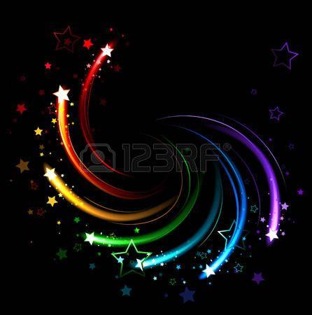 すべての色の黒い背景に虹のねじれの火花に輝く