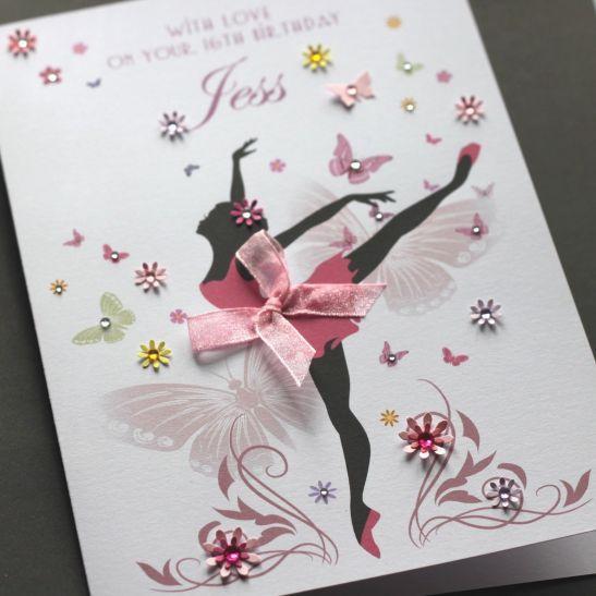 LARGE A5 Handmade Personalised BALLERINA Birthday Card