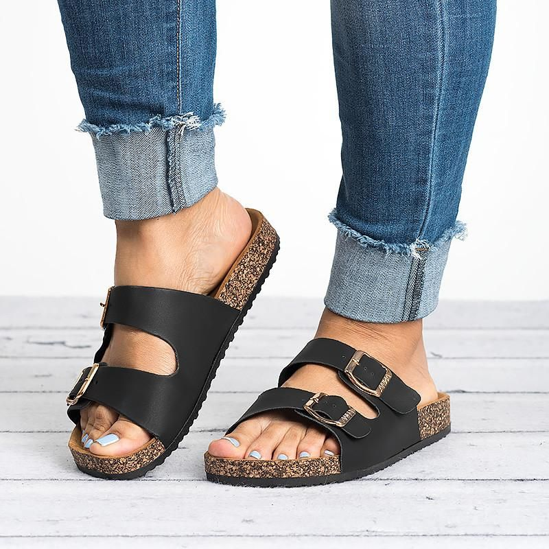 d7f883dd7 Double Buckle Sandals - Black in 2019